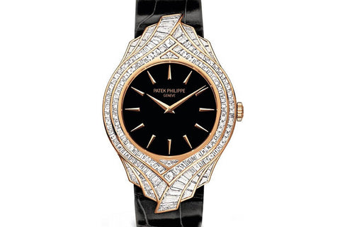 Patek Philippe Calatrava Ladies Haute Joaillerie 4895R-001 - Rose Gold & Diamond on Black Leather - Black Dial