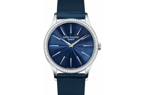 Patek Philippe Calatrava Ladies 4897G-001 - White Gold on Blue Satin - Blue Dial w/ Diamond Bezel