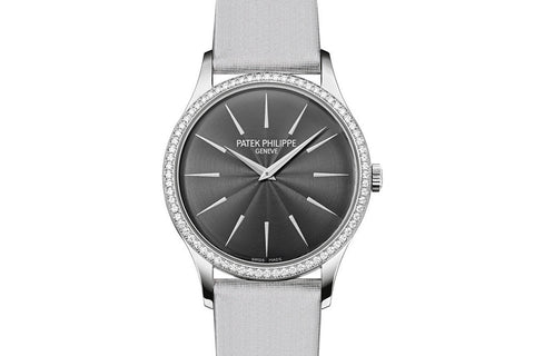 Patek Philippe Calatrava Ladies 4897G-010 - White Gold on White Satin - Gray Dial w/ Diamond Bezel