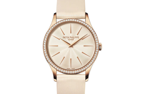 Patek Philippe Calatrava Ladies 4897R-010 - Rose Gold on Cream Satin - Cream Dial w/ Diamond Bezel