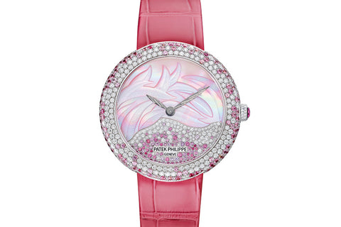 Patek Philippe Calatrava Ladies Haute Joaillerie 4899/900G-001 - White Gold on Pink Leather - Pearl Dial w/ Diamond & Sapphire Bezel