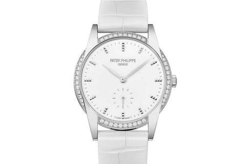 Patek Philippe Calatrava Ladies 7122/200G-001 - White Gold on White Leather - White Dial w/ Diamond Bezel