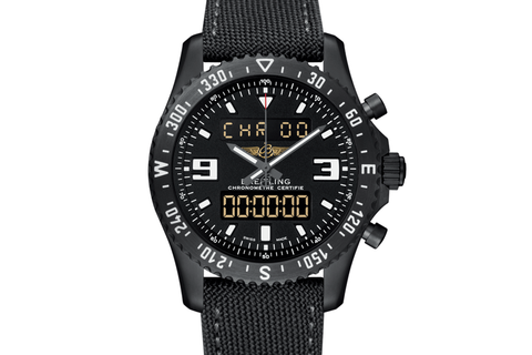Breitling Professional Chronospace Military - Black Steel on Black Canvas - Black Dial