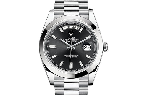 Rolex Day-Date 40 Platinum on Bracelet - Black Diamond Dial