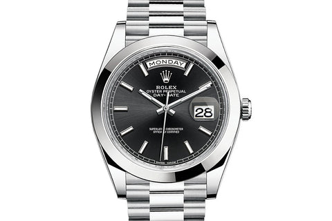 Rolex Day-Date 40 Platinum on Bracelet - Black Dial