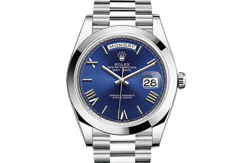 Rolex Day-Date 40 Platinum on Bracelet - Blue Roman Dial