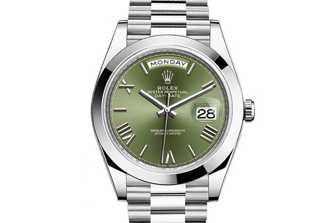 Rolex Day-Date 40 Platinum on Bracelet - Green Roman Dial
