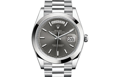 Rolex Day-Date 40 Platinum on Bracelet - Grey Stripe Dial