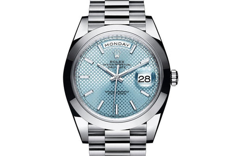 Rolex Day-Date 40 Platinum on Bracelet - Ice Blue Diagonal Dial