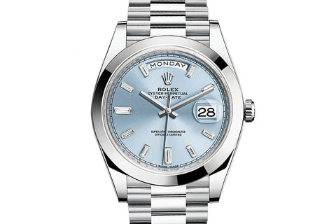 Rolex Day-Date 40 Platinum on Bracelet - Ice Blue Diamond Dial