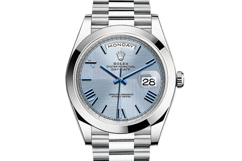 Rolex Day-Date 40 Platinum on Bracelet - Ice Blue Quadrant Dial