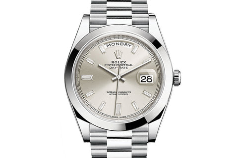 Rolex Day-Date 40 Platinum on Bracelet - Silver Diamond Dial
