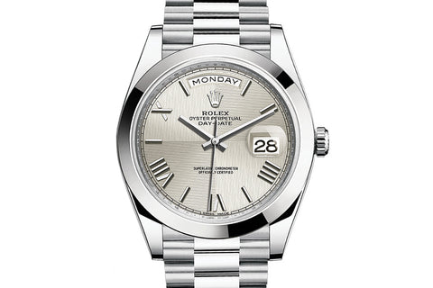 Rolex Day-Date 40 Platinum on Bracelet - Silver Quadrant Dial