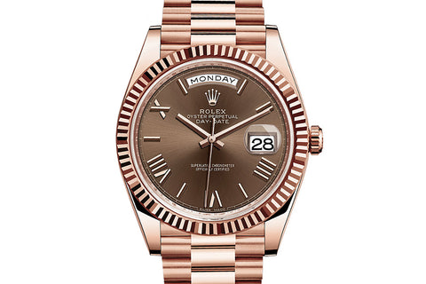 Rolex Day-Date 40 18k Rose Gold on Bracelet - Chocolate Dial