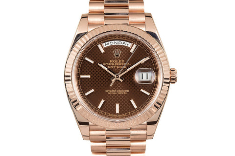 Rolex Day-Date 40 18k Rose Gold on Bracelet - Chocolate Diagonal Dial