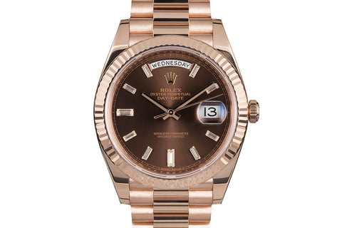 Rolex Day-Date 40 18k Rose Gold on Bracelet - Chocolate Diamond Dial