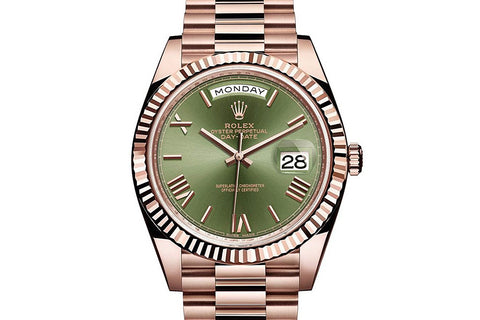 Rolex Day-Date 40 18k Rose Gold on Bracelet - Green Dial