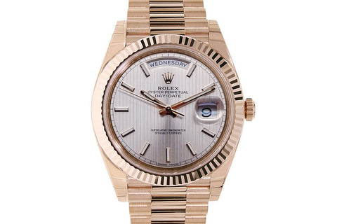 Rolex Day-Date 40 18k Rose Gold on Bracelet - Silver Stripe Dial