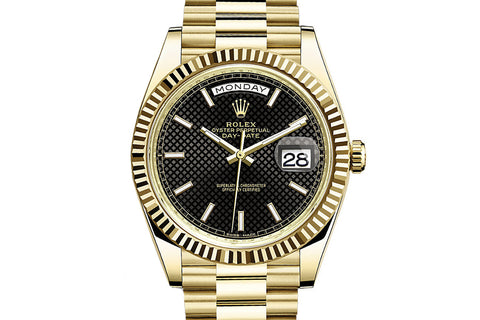 Rolex Day-Date 40 18k Yellow Gold on Bracelet - Black Diagonal Dial
