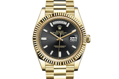 Rolex Day-Date 40 18k Yellow Gold on Bracelet - Black Dial w/ Diamond Markers