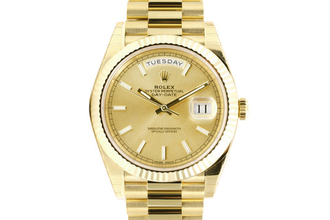 Rolex Day-Date 40 18k Yellow Gold on Bracelet - Champagne Dial w/ Stick Markers