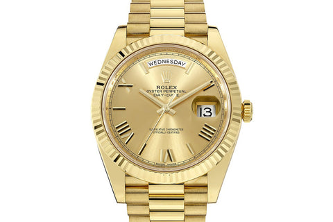 Rolex Day-Date 40 18k Yellow Gold on Bracelet - Champagne Dial