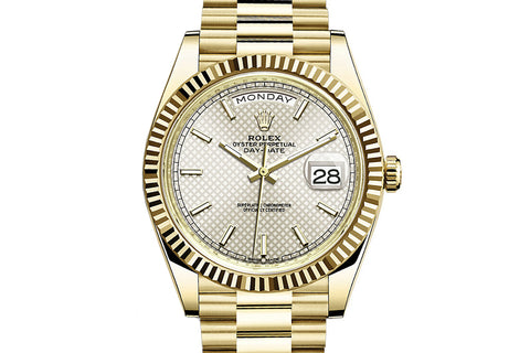 Rolex Day-Date 40 18k Yellow Gold on Bracelet - Silver Diagonal Dial