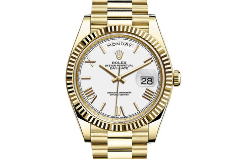 Rolex Day-Date 40 18k Yellow Gold on Bracelet - White Dial