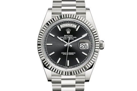 Rolex Day-Date 40 18k White Gold on Bracelet - Black Dial