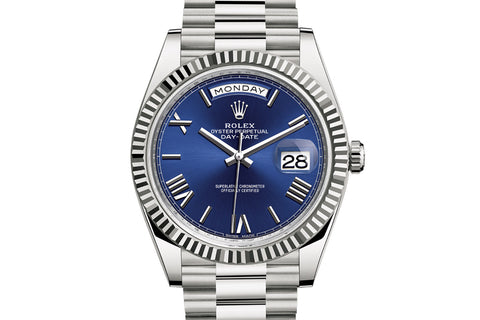Rolex Day-Date 40 18k White Gold on Bracelet - Blue Dial