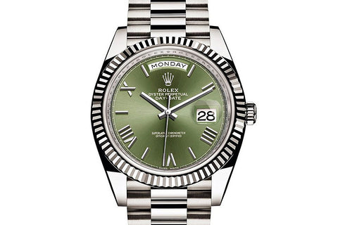 Rolex Day-Date 40 18k White Gold on Bracelet - Green Dial