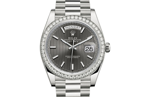 Rolex Day-Date 40 18k White Gold on Bracelet - Rhodium Stripe Dial