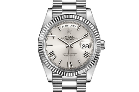 Rolex Day-Date 40 18k White Gold on Bracelet - Silver Quadrant Dial
