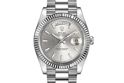 Rolex Day-Date 40 18k White Gold on Bracelet - Silver Stripe Dial