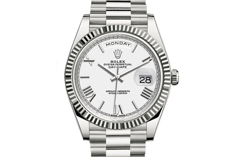 Rolex Day-Date 40 18k White Gold on Bracelet - White Dial