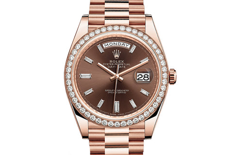 Rolex Day-Date 40 18k Rose Gold on Bracelet - Chocolate Dial w/ Diamond Bezel