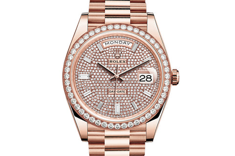 Rolex Day-Date 40 18k Rose Gold on Bracelet - Diamond Dial w/ Diamond Bezel