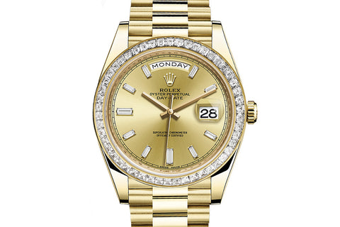 Rolex Day-Date 40 18k Yellow Gold on Bracelet - Champagne Dial w/ Diamond Bezel