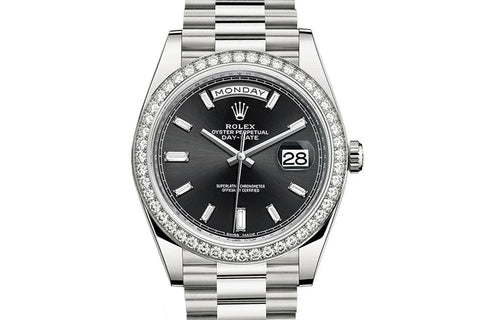 Rolex Day-Date 40 18k White Gold on Bracelet - Black Dial w/ Diamond Bezel