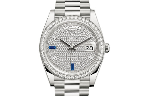 Rolex Day-Date 40 18k White Gold on Bracelet - Diamond Dial w/ Diamond Bezel