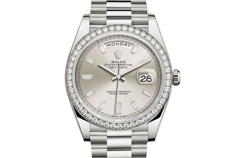 Rolex Day-Date 40 18k White Gold on Bracelet - Silver Dial w/ Diamond Bezel