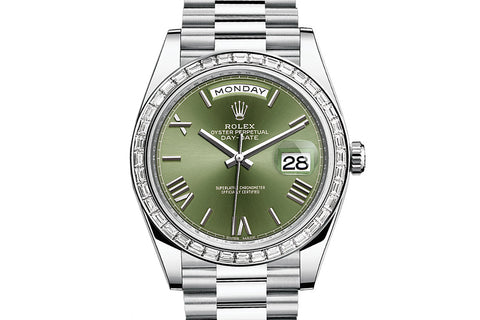 Rolex Day-Date 40 Platinum on Bracelet - Green Roman Dial w/ Diamond Bezel