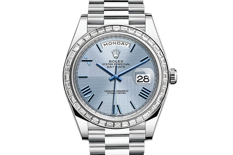 Rolex Day-Date 40 Platinum on Bracelet - Ice Blue Quadrant Dial w/ Diamond Bezel
