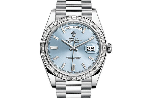 Rolex Day-Date 40 Platinum on Bracelet - Ice Blue Dial w/ Diamond Bezel