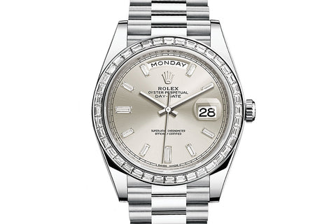 Rolex Day-Date 40 Platinum on Bracelet - Silver Diamond Dial w/ Diamond Bezel