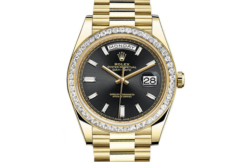 Rolex Day-Date 40 18k Yellow Gold on Bracelet - Black Dial w/ Diamond Bezel