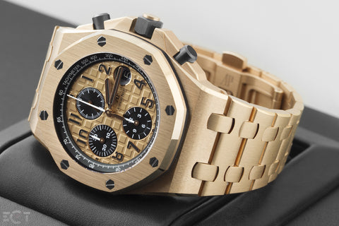 Audemars Piguet Royal Oak Offshore Chronograph 42mm 18K Rose Gold on Bracelet - Gold Dial
