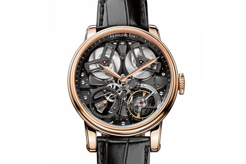 Arnold & Son TB88 - 18k Rose Gold on Black Leather - Black Skeleton Dial