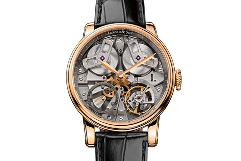 Arnold & Son TB88 - 18k Rose Gold on Black Leather - Silver Skeleton Dial
