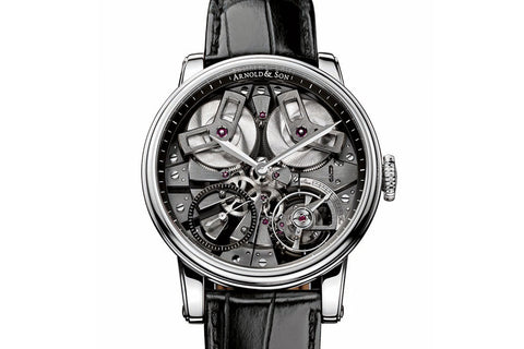 Arnold & Son TB88 - Stainless Steel on Black Leather - Grey Skeleton Dial